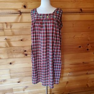 1960s Unlabeled Red Plaid, Poly/Cotton Housedress